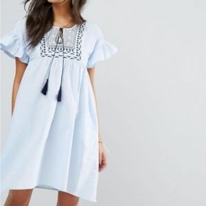 Mango Embroidered Smock Dress with Tassels